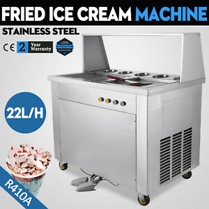 Thai Fried Icecream Machine With Double Pans Ice Cream Roll Maker
