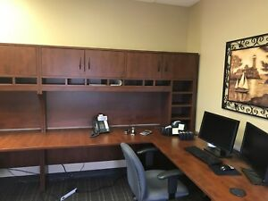 Office Desks wrap Around workstations Upper Cabinets Lower Filing