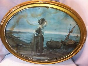 Vtg Wood Chalk Large Wood Oval Glass Frame With Woman By Boat Print