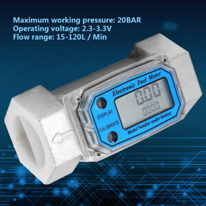 15 120l Turbine 1 5 Digital Flow Meter Gasoline Water Liquid Fuel Metering Tool