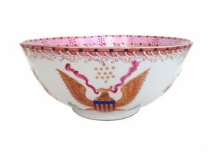 Chinese Punch Bowl Small Pink American Eagle Stars Roses Floral Waves 2of2