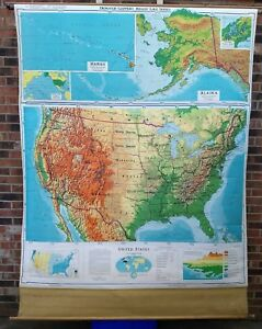 Vintage Denoyer Geppert Mid Century United States Pull Down School Map Relief