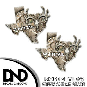 Texas State Hunting Decal Whitetail Deer Skull Original Camo Sticker Tx 2 Pack