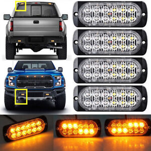 4pcs 12led Lights Bar Emergency Hazard Warning Strobe Flashing Lights Amber