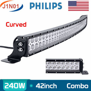 Curved 42inch 240w Led Work Driving Light Car Jeep Truck 4x4wd 12v24v Philips 44