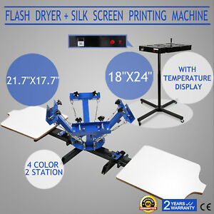 4 Color Screen Printing 2 Station Kit 18x24 Flash Dryer Curing Wheels T shirt