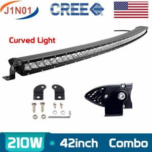 Single Row 50inch 240w Curved Led Work Flood Spot Light Bar Driving Suv Boat 3d