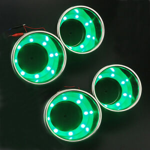 4pcs Green Led Cup Drink Holder Stainless Steel Cup Bottle Marine Boat truck Rv