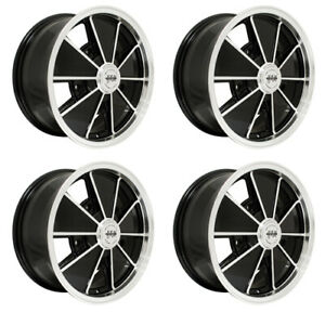 Brm Wheels Black With Polished Lip 5 Wide 5 On 205mm Vw Dunebuggy