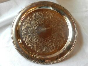 Vintage Wm Rogers Silver Plated Large 15 Round Serving Tray Platter 272