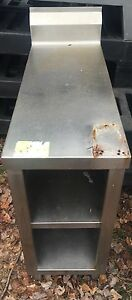 Used Custom Made Stainless Steel Filler Table Cabinet With Backsplash