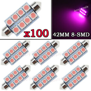 100x Pink Purple 42mm 8smd Festoon Dome Map Interior Led Light Bulb 211 2 569