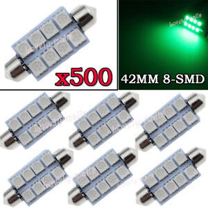 500x Green Led Map Dome Lights 8 smd 1 72 41mm 42mm Festoon Bulbs 211 2 578