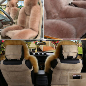 Pair Soft Woolen Plush Car Front Seat Covers Winter Warm Seat Cushions Universal