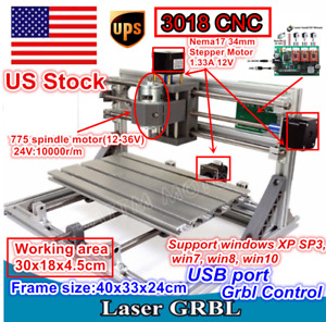 Us 3 Axis Mini 3018 Grbl Control Diy Cnc Router Laser Machine Engraving Milling