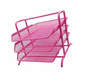 Easypag 3 Tier Mesh Desk Organizer Tray File Holder Pink