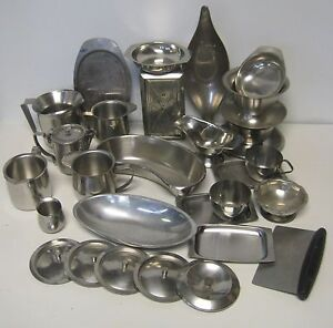 Stainless Steel Mixed Lot Creamers Trays Lids Napkin Dispenser Sauce Kidney Dish