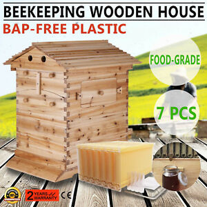 7pcs Auto Honey Flow Beehive Hive Frames 1pc Beekeeping Wooden Bee Hive House