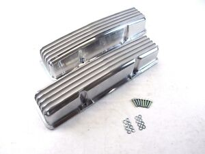 Sbc 350 383 Chevy Aluminum Tall Finned Valve Cover W o Hole Polished Bpe 2007