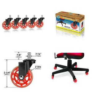 3 In Caster Wheels Pack Office Chair Accessory Furniture 5 Pc Rollerblade Red