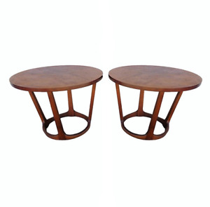 Pair Vtg Adrian Pearsall Attr Lane Round Sculptural Base Walnut Side End Tables