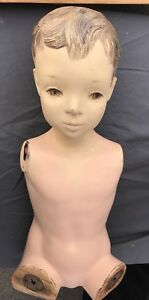 Vintage Antique 1940 50 s Child Youth Boy Mannequin With Old Wood Metal
