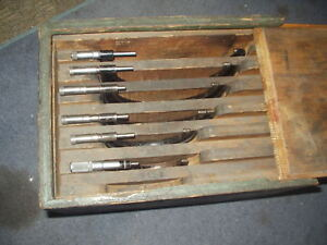 Vintage Outside Micrometer Set 3 To 8 Two Starrett And 4 Are J t Slocomb