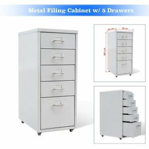 Metal Filing Cabinet W 5 Drawers Office Home Stationary Metal Handle Steel White