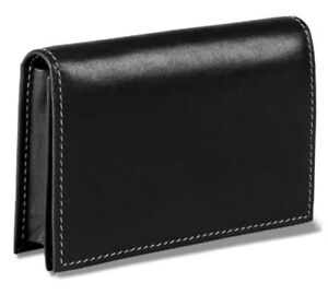 Levenger Card Wallet Black Leather New In Box business Credit Credit Cards