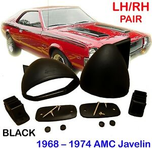 Amc Javelin Amx 401 1968 1974 Bullet Black Mirror Pair Custom Retro