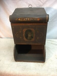 Antique General Store Tea Coffee Bin Tin Gun Powder Tea