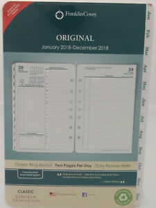 2018 Franklin Covey Original Two Page Per Day Classic Ring bound Planner Refill