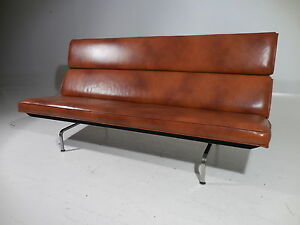 Vintage 50 S Eames Herman Miller Leather Compact Sofa Mid 20th Century Modern