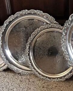 2 Pc Silver Plated Butler Serving Tray Set Georgian Scroll Du Maurier Round