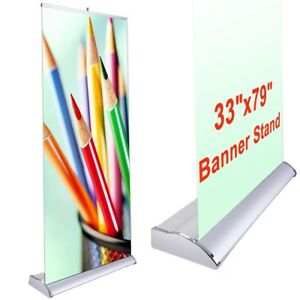 33x79 Retractable Rollup Banner Stand Trade Show Display Sign Holder Exhibition