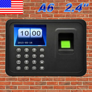 A6 2 4 biometric Fingerprint Id Card Time Clocks Attendance Punch Machine Black