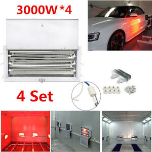 4 Kits 3kw Car Spray Paint Booth Infrared Dryer Lamp Drying Heating Light 220v