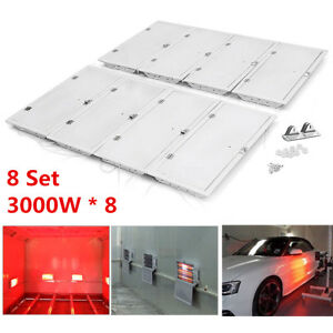 8 Kits 3kw 220v Car Shop Spray Paint Infrared Dryer Lamp Drying Heating Lights