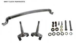 1937 1948 Ford Forged 4 Drop I beam Front Axle Chrome 47 Centers Spindles Kit
