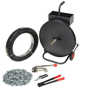 Steel Strapping Kit 1 Roll Strapping Cart Seals Cutter Sealer Tensioner