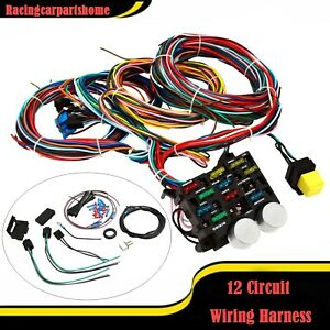 Universal Wire 12 Circuit Hot Rod Wiring Harness For Chevy Mopar Ford Street