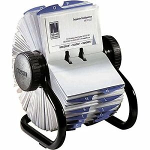 Rolodex Business Cards Office Organizing File Covered Sleeve And 24 Guide Holder