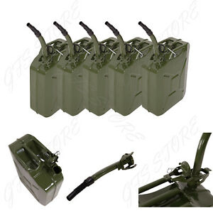 5 Pc Jerry Can 5 Gallon 20l Gas Tank Fuel Army Nato Military Metal Gasoline Tank