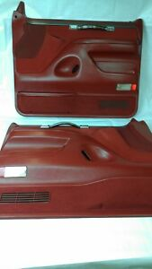 1992 1993 F150 F250 F350 Bronco Red Door Panel Set Xlt Power Driver Passenger