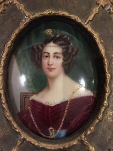 Nice Hand Painted Late 19th Century Framed Porcelain Portrait Miniature