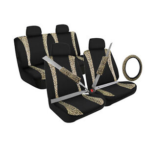 Pilot Automotive Leopard Print Combo Front Rear Seat Steering Seat Belt Cover