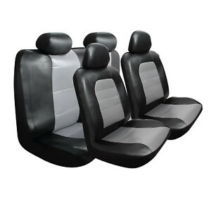Pilot Automotive Super Sport Synthetic Leather Black Gray Front Rear Seat Cover