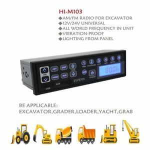 Heavy Duty Excavator Radio Aux Usb Input 12v 24v Am fm For Tractor Truck Grader