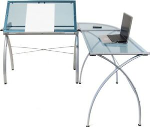 Sturdy Glass Top Adjustable Drafting Table Work Center Modern Workstation New