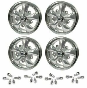 Set Of 4 15 X 5 1 2 Vw Bug 5 Lug Silver Empi 5 Spoke Wheels Lug Nuts